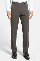 Men's Calibrate Flat Front Houndstooth Trousers Brown