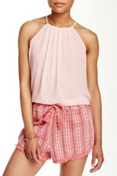 Lush Pleated Halter Blouse Pink