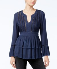 William Rast Fiona Sequined Peasant Top Evening Indigo