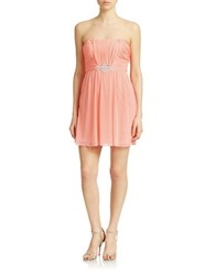 Hailey Logan Strapless Beaded Detail Dress Melon