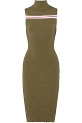 Suno Textured Stretch Knit Midi Dress Green