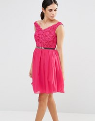 Laced In Love Lace Fit And Flare Dress Pink