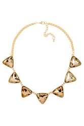 Stella Ruby Crystal Pyramid Necklace Brown