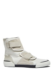 Lanvin High Top Velcro Leather Sneakers Grey