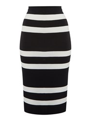Therapy Brooke Stripe Knit Pencil Skirt Black White