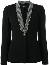 Versus Checked Shawl Lapel Blazer Black