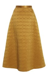 Alena Akhmadullina Quilted A Line Silk Skirt Gold