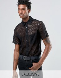 Reclaimed Vintage Lace Shirt In Reg Fit Black