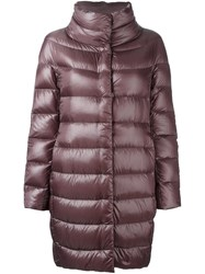 Herno Snap Button Mid Length Jacket Pink And Purple
