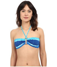 Lauren Ralph Lauren Engineered Tie Dye Ring Front Bandeau Bra W Removable Cup Ocean Women's Swimwear Blue