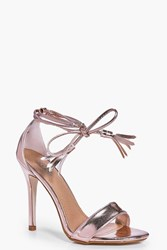 Boohoo Two Part Wrap Strap Stiletto Rose Gold