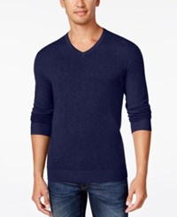 Alfani Men's V Neck Heathered Long Sleeve Sweater Regular Fit Indigo Heather