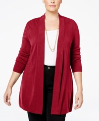 Karen Scott Plus Size Open Front Cardigan Only At Macy's New Red Amore