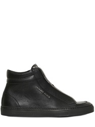 Philipp Plein Zipper Leather High Top Sneakers Black