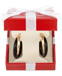 Signature Gold Onyx Twist Hoop Earrings 25 3 4 Ct. T.W. In 14K Gold Over Resin Yellow Gold