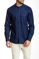 Shades Of Grey Band Collar Button Down Shirt Blue