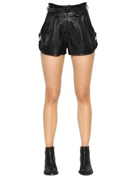 Just Cavalli Faux Leather High Waisted Shorts