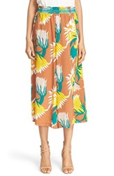Women's Tracy Reese Floral Print Wide Leg Silk Culottes