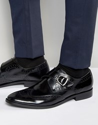 Dune Monk Shoes In Black Leather Black