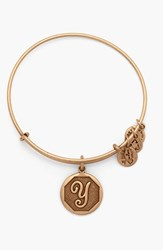 Women's Alex And Ani 'Initial' Adjustable Wire Bangle Y Russian Gold