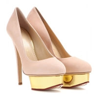 Charlotte Olympia Dolly Suede Platform Pumps Blush Gold