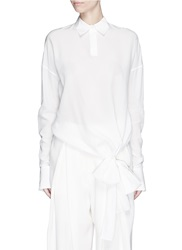 Ms Min Bow Tie Hem Silk Blouse White
