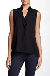 T Tahari Astrid Faux Leather Collar Tank Black