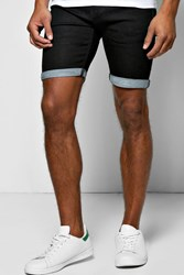 Boohoo Fit Denim Shorts With Turn Up Black