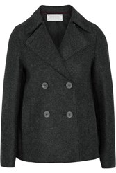 Harris Wharf London Double Breasted Wool Felt Peacoat Charcoal