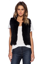 525 America Rabbit Fur Vest Black