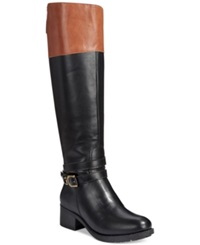 Rampage Imelda Tall Shaft Riding Boots Women's Shoes Black Cognac