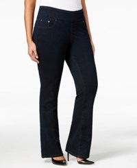 Jag Plus Size Paley Pull On Bootcut Jeans Indigo
