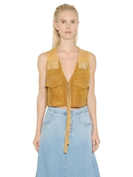 Maison Martin Margiela Fringed Suede And Nappa Leather Vest Tan