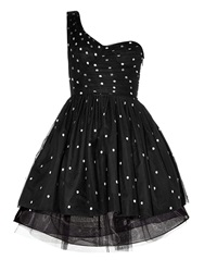 Saint Laurent One Shoulder Polka Dot Tulle Dress