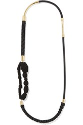 Marni Gold Tone And Braided Grosgrain Necklace Black