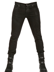 Karl Lagerfeld 16 5Cm Waxed Denim Stretch Skinny Jeans Black