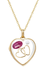 Loquet 14 Karat Medium Heart Locket With Ruby And Pearl Charms