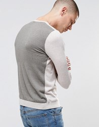 Asos Cotton Jumper With Contrast Back Light Oatmeal Beige