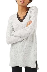 Topshop Women's Lace V Neck Sweater Tunic