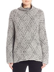 Joie Nakendra Diamond Pattern Turtleneck Sweater Light Heather Grey