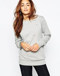 Criminal Damage Oversized Crew Neck Sweatshirt With Distressing Grey