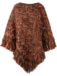 Missoni Round Neck Knit Poncho Yellow Orange