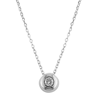Ewa 9Ct White Gold Flush Set Diamond Pendant