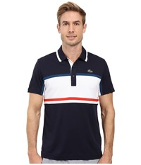 Lacoste Sport Short Sleeve Ultra Dry Chest Stripe Navy Blue White Raffia Matting Corrida Men's Clothing Black