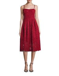 Vera Wang Strapless Lace Dress Red