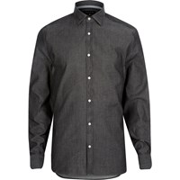 River Island Mens Grey Washed Denim Long Sleeve Shirt