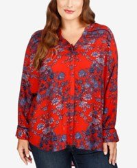 Lucky Brand Trendy Plus Size Printed Blouse Red Multi