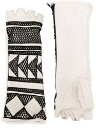 Ktz Fingerless Mesh Gloves White