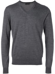 Z Zegna V Neck Jumper Grey