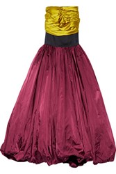 Oscar De La Renta Ruched Satin And Silk Gown Burgundy